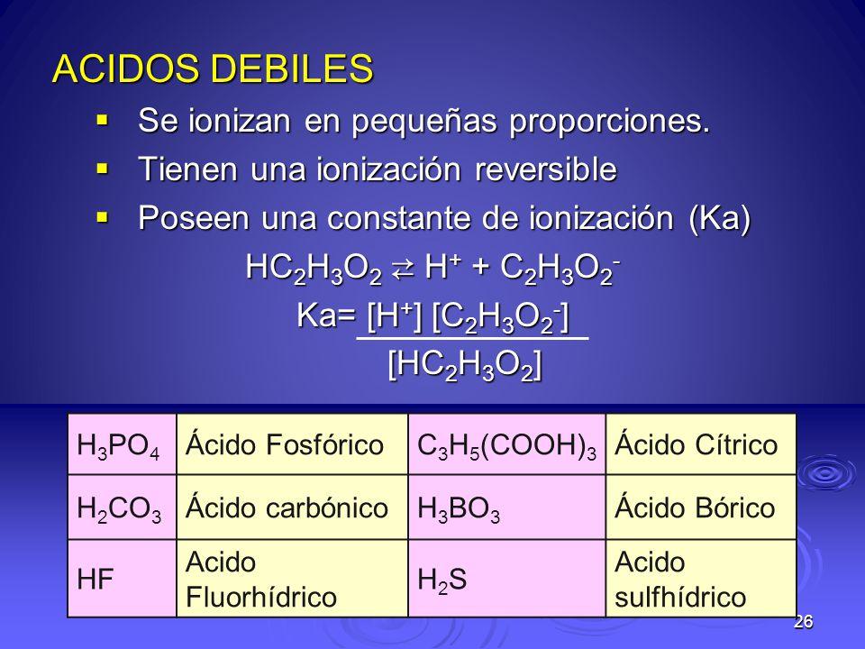 26 ACIDOS DEBILES Se ionizan en pequeñas proporciones. Se ionizan en pequeñas proporciones. Tienen una ionización reversible Tienen una ionización rev