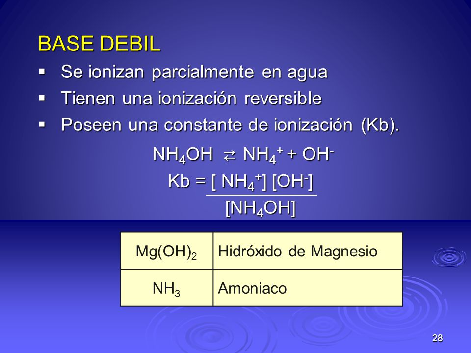 28 BASE DEBIL Se ionizan parcialmente en agua Se ionizan parcialmente en agua Tienen una ionización reversible Tienen una ionización reversible Poseen