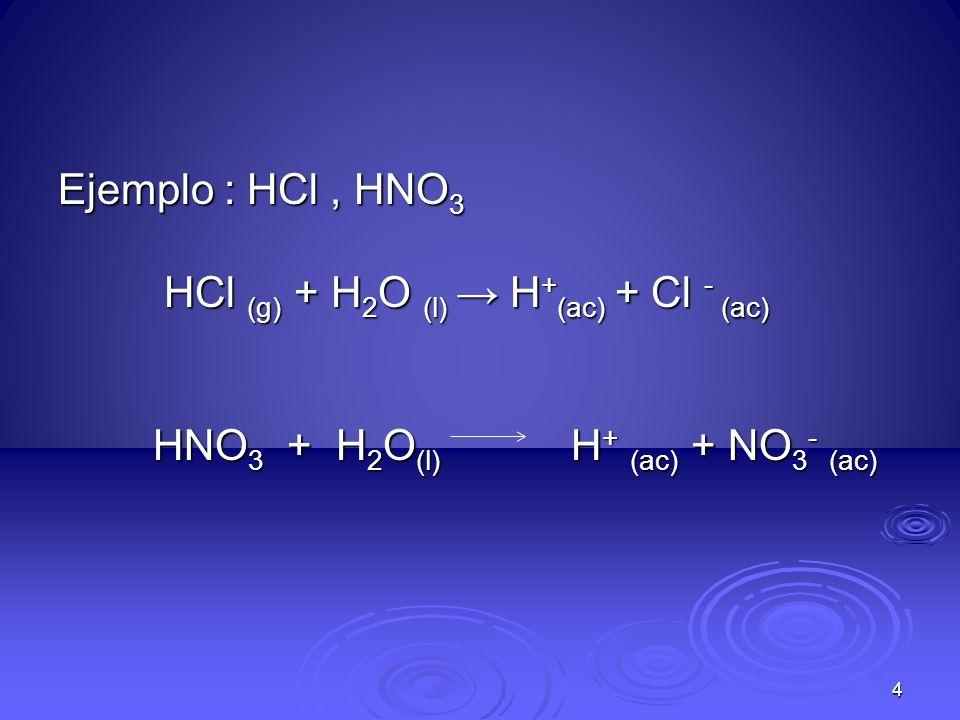 Ejemplo : HCl, HNO 3 HCl (g) + H 2 O (l) H + (ac) + Cl - (ac) HCl (g) + H 2 O (l) H + (ac) + Cl - (ac) HNO 3 + H 2 O (l) H + (ac) + NO 3 - (ac) HNO 3