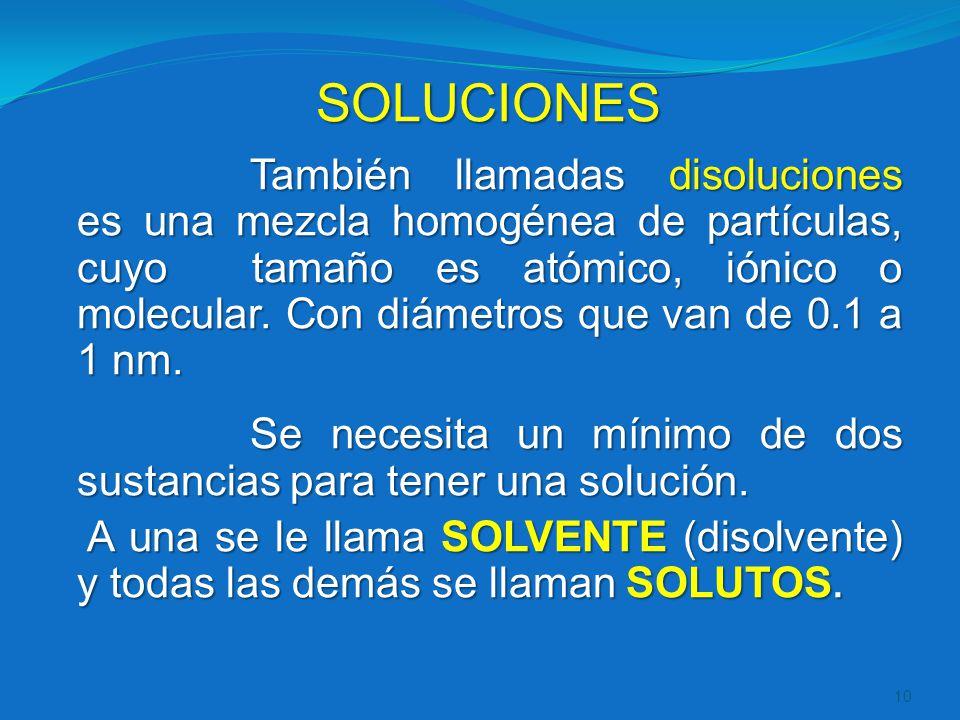 SOLUCIONES También llamadas disoluciones es una mezcla homogénea de partículas, cuyo tamaño es atómico, iónico o molecular. Con diámetros que van de 0