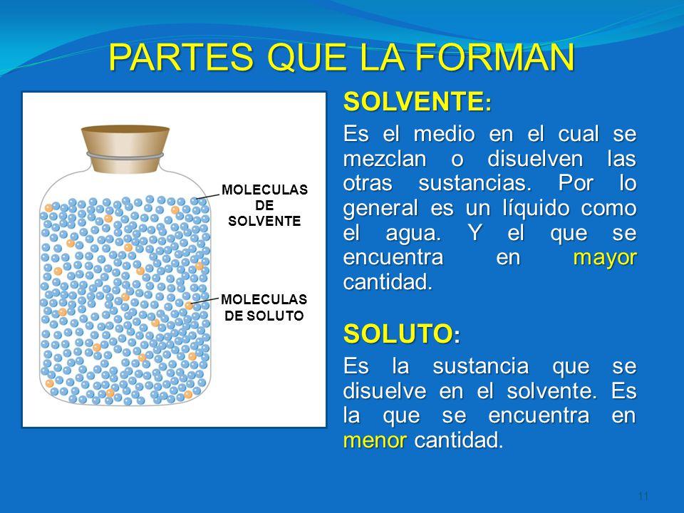 PARTES QUE LA FORMAN 11 SOLVENTE : Es el medio en el cual se mezclan o disuelven las otras sustancias. Por lo general es un líquido como el agua. Y el