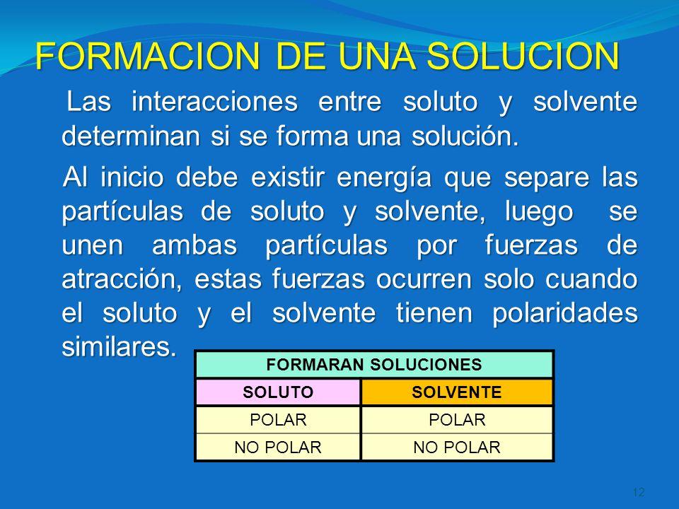 FORMACION DE UNA SOLUCION Las interacciones entre soluto y solvente determinan si se forma una solución. Al inicio debe existir energía que separe las