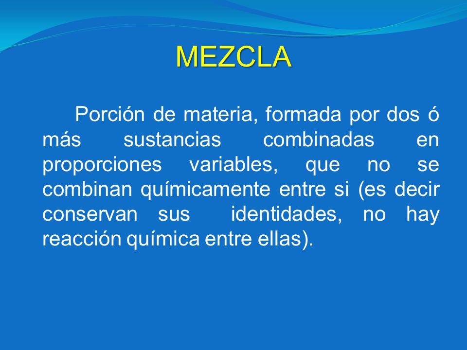 MEZCLA Porción de materia, formada por dos ó más sustancias combinadas en proporciones variables, que no se combinan químicamente entre si (es decir c