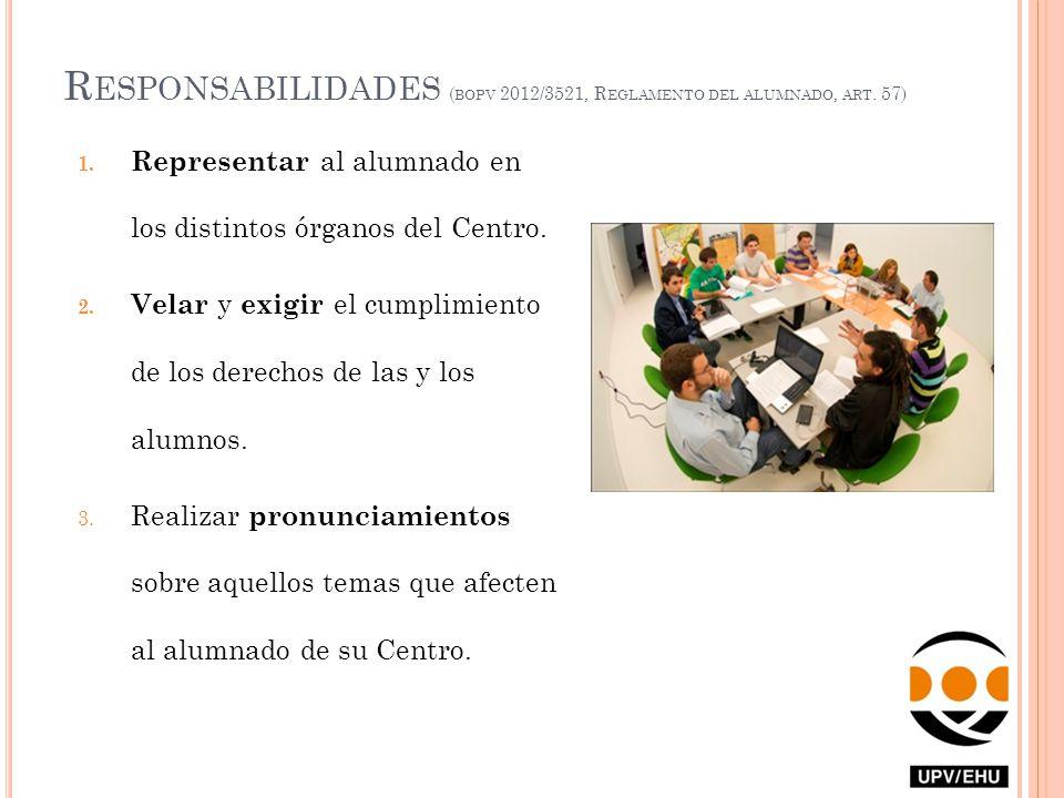 R ESPONSABILIDADES ( BOPV 2012/3521, R EGLAMENTO DEL ALUMNADO, ART. 57) 1. Representar al alumnado en los distintos órganos del Centro. 2. Velar y exi