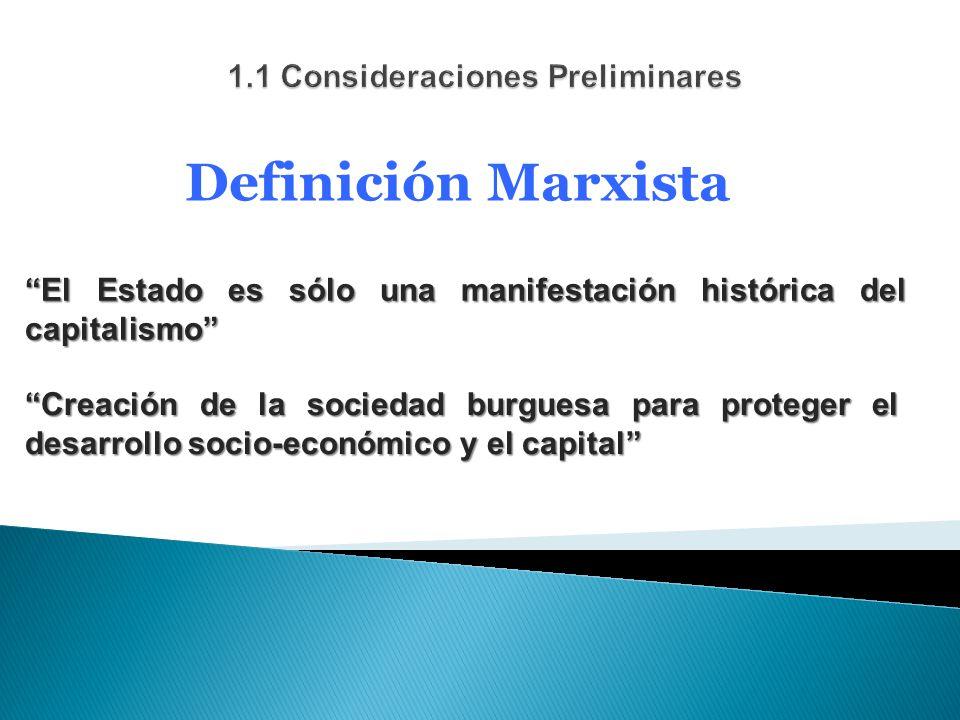 Definición Marxista El Estado es sólo una manifestación histórica del capitalismo Creación de la sociedad burguesa para proteger el desarrollo socio-económico y el capital