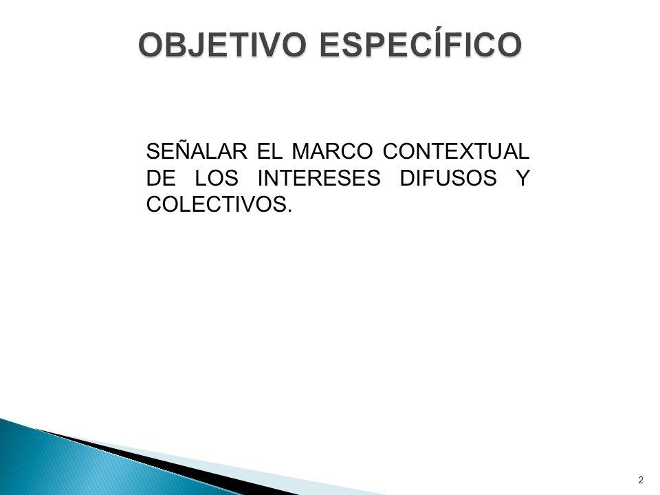 2 SEÑALAR EL MARCO CONTEXTUAL DE LOS INTERESES DIFUSOS Y COLECTIVOS.