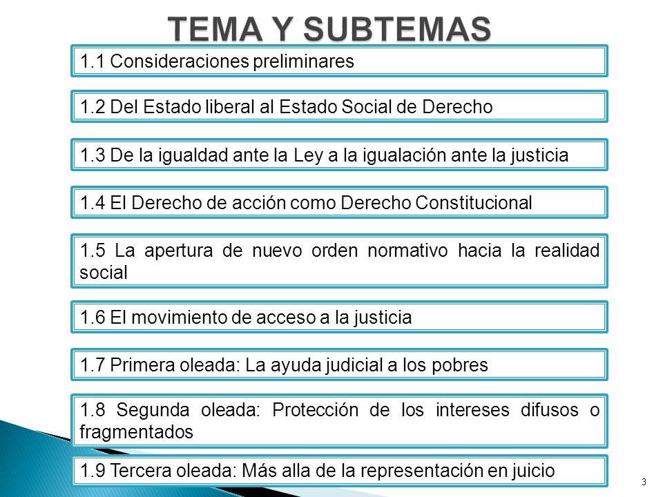 3 1.1 Consideraciones preliminares 1.2 Del Estado liberal al Estado Social de Derecho 1.3 De la igualdad ante la Ley a la igualación ante la justicia 1.4 El Derecho de acción como Derecho Constitucional 1.5 La apertura de nuevo orden normativo hacia la realidad social 1.6 El movimiento de acceso a la justicia 1.7 Primera oleada: La ayuda judicial a los pobres 1.8 Segunda oleada: Protección de los intereses difusos o fragmentados 1.9 Tercera oleada: Más alla de la representación en juicio