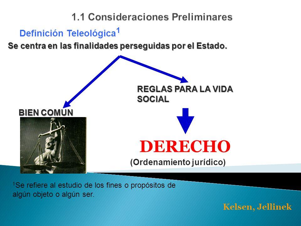 Definición Teleológica 1 Se centra en las finalidades perseguidas por el Estado.