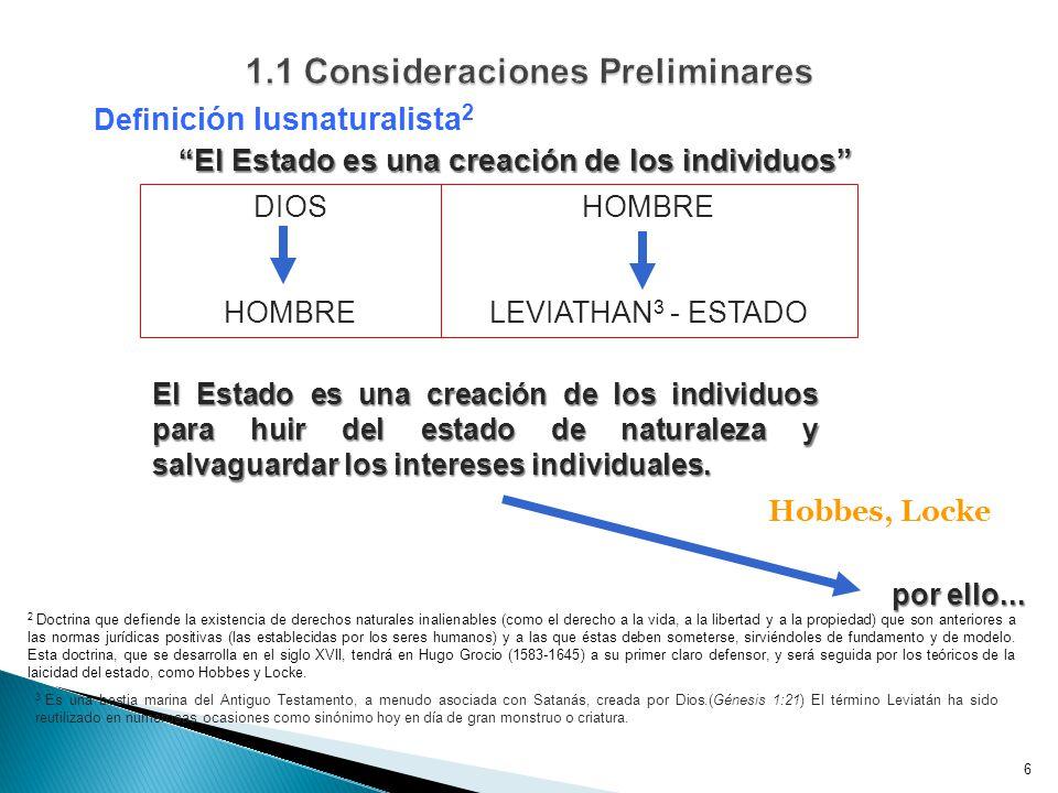 6 Defi nición Iusnaturalista 2 El Estado es una creación de los individuos El Estado es una creación de los individuos Hobbes, Locke DIOS HOMBRE LEVIATHAN 3 - ESTADO El Estado es una creación de los individuos para huir del estado de naturaleza y salvaguardar los intereses individuales.