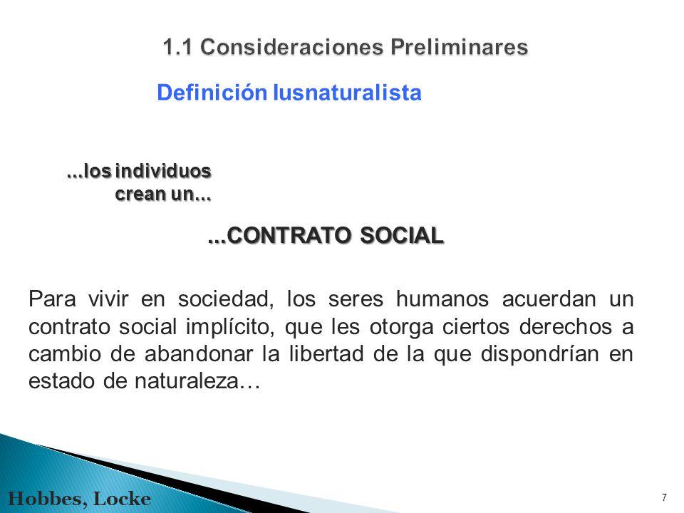 7 Definición Iusnaturalista Hobbes, Locke...CONTRATO SOCIAL Para vivir en sociedad, los seres humanos acuerdan un contrato social implícito, que les otorga ciertos derechos a cambio de abandonar la libertad de la que dispondrían en estado de naturaleza…...los individuos crean un...