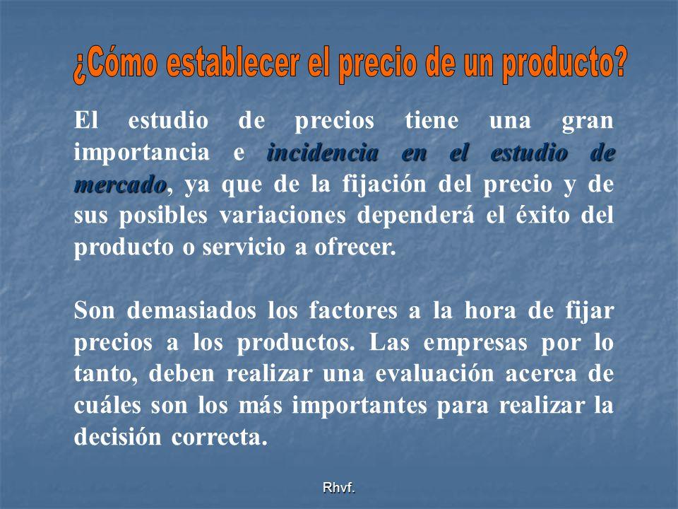Rhvf. incidencia en el estudio de mercado El estudio de precios tiene una gran importancia e incidencia en el estudio de mercado, ya que de la fijació