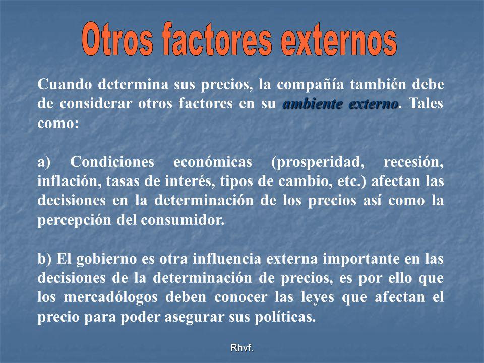 Rhvf. ambiente externo Cuando determina sus precios, la compañía también debe de considerar otros factores en su ambiente externo. Tales como: a) Cond