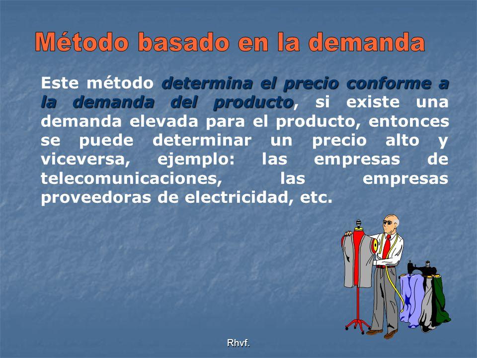 Rhvf. determina el precio conforme a la demanda del producto Este método determina el precio conforme a la demanda del producto, si existe una demanda