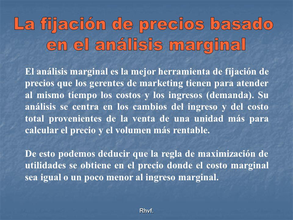 Rhvf. El análisis marginal es la mejor herramienta de fijación de precios que los gerentes de marketing tienen para atender al mismo tiempo los costos