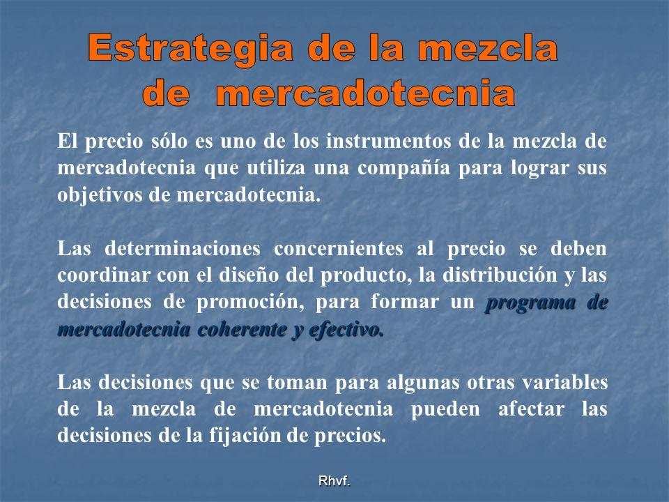 Rhvf. El precio sólo es uno de los instrumentos de la mezcla de mercadotecnia que utiliza una compañía para lograr sus objetivos de mercadotecnia. pro