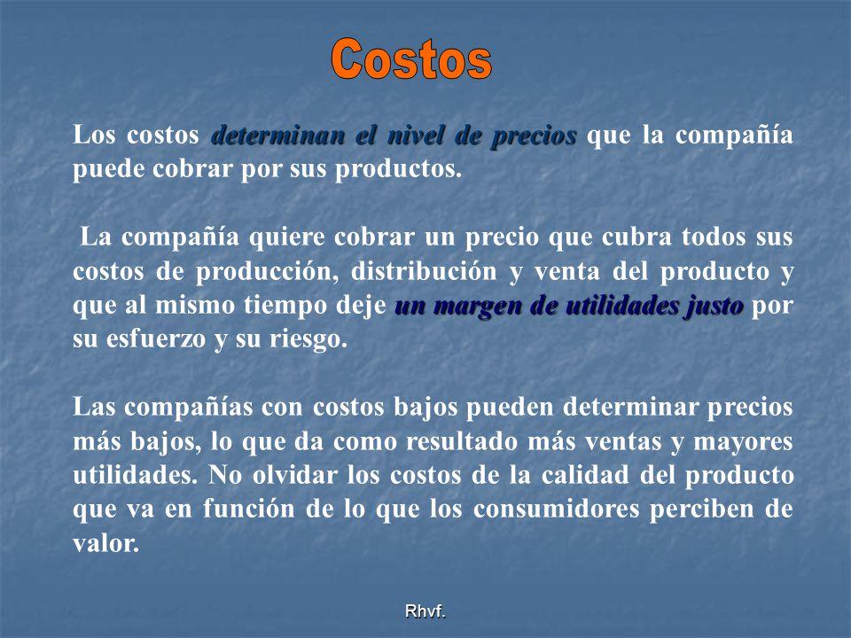 Rhvf. determinan el nivel de precios Los costos determinan el nivel de precios que la compañía puede cobrar por sus productos. un margen de utilidades
