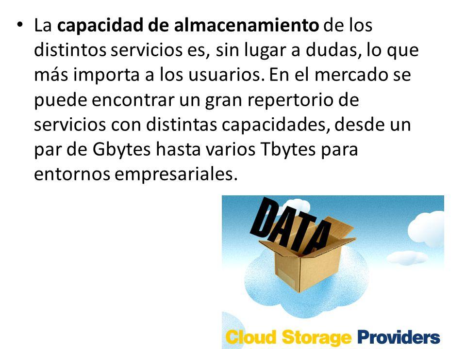 La capacidad de almacenamiento de los distintos servicios es, sin lugar a dudas, lo que más importa a los usuarios. En el mercado se puede encontrar u