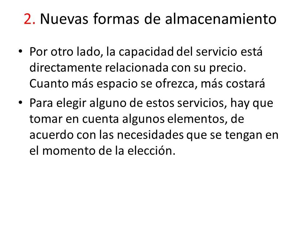 2. Nuevas formas de almacenamiento Por otro lado, la capacidad del servicio está directamente relacionada con su precio. Cuanto más espacio se ofrezca