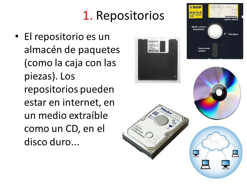 1. Repositorios El repositorio es un almacén de paquetes (como la caja con las piezas). Los repositorios pueden estar en internet, en un medio extraíb