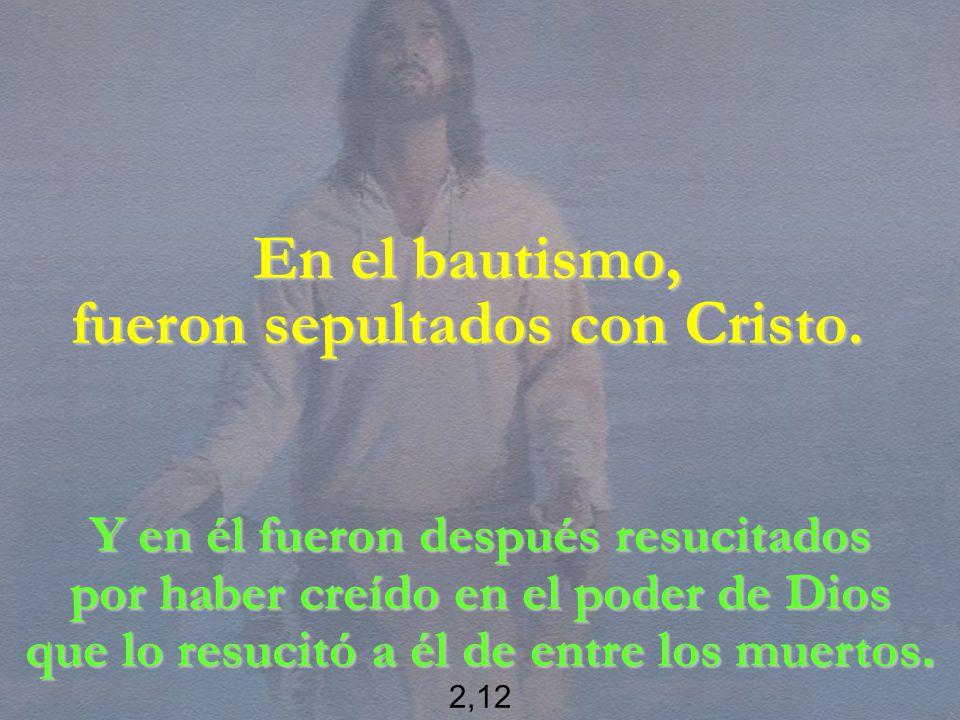 En el bautismo, fueron sepultados con Cristo. Y en él fueron después resucitados por haber creído en el poder de Dios que lo resucitó a él de entre lo