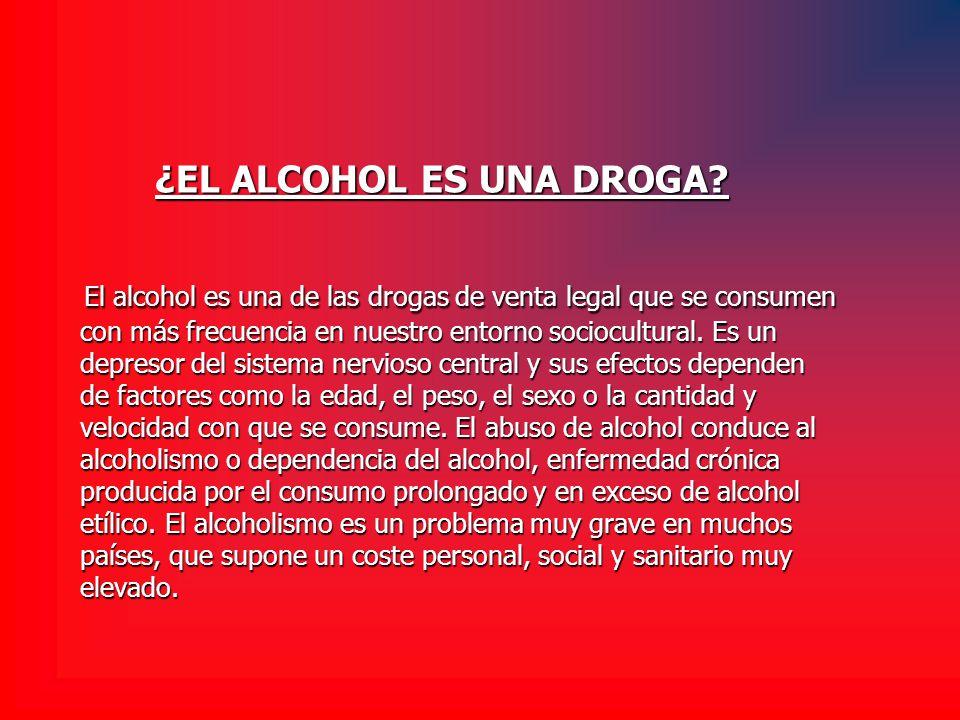 ¿EL ALCOHOL ES UNA DROGA? El alcohol es una de las drogas de venta legal que se consumen con más frecuencia en nuestro entorno sociocultural. Es un de