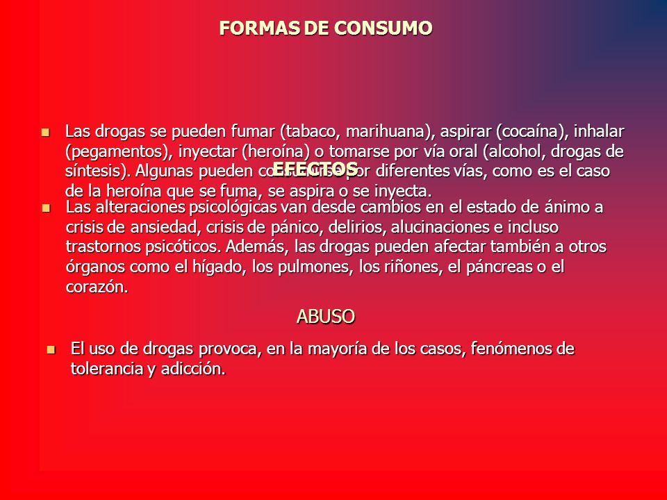FORMAS DE CONSUMO Las drogas se pueden fumar (tabaco, marihuana), aspirar (cocaína), inhalar (pegamentos), inyectar (heroína) o tomarse por vía oral (