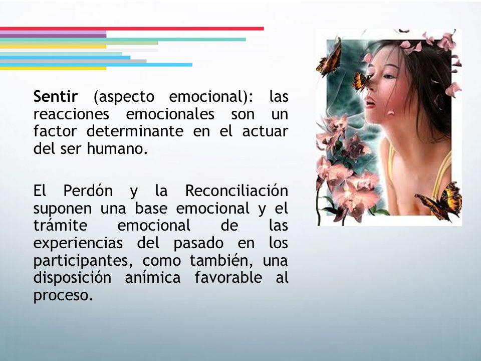 Sentir (aspecto emocional): las reacciones emocionales son un factor determinante en el actuar del ser humano. El Perdón y la Reconciliación suponen u