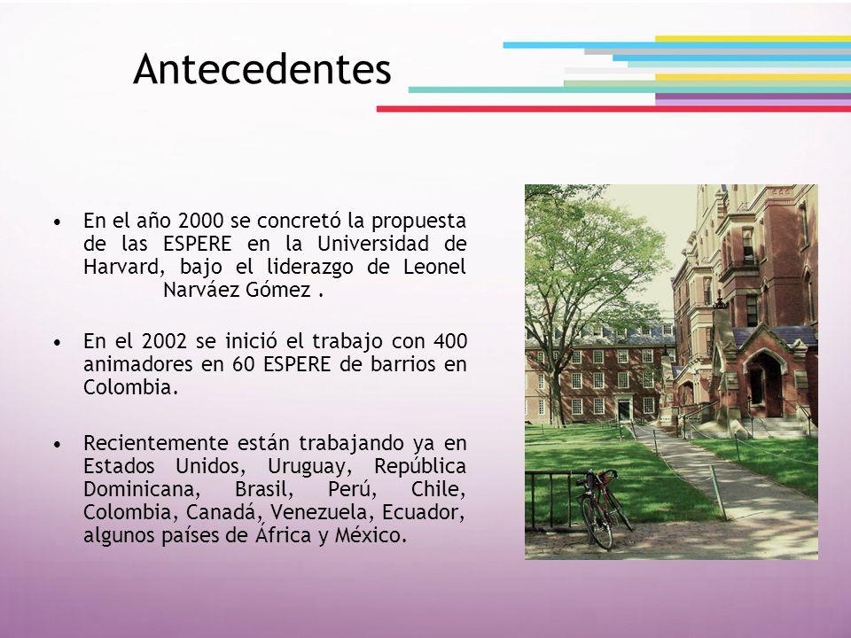 Antecedentes En el año 2000 se concretó la propuesta de las ESPERE en la Universidad de Harvard, bajo el liderazgo de Leonel Narváez Gómez. En el 2002