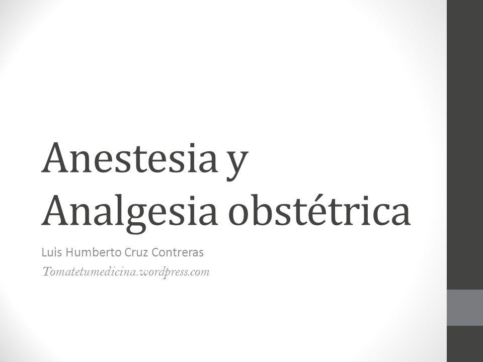 Anestesia y Analgesia obstétrica Luis Humberto Cruz Contreras Tomatetumedicina.wordpress.com
