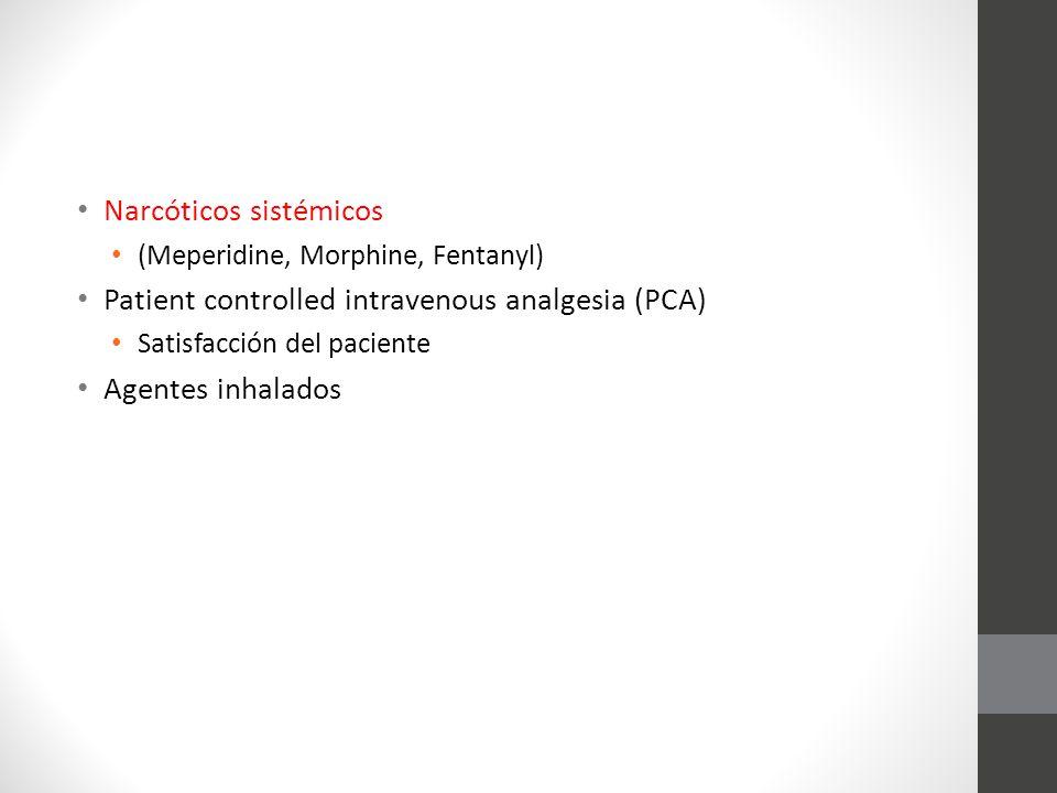 Narcóticos sistémicos (Meperidine, Morphine, Fentanyl) Patient controlled intravenous analgesia (PCA) Satisfacción del paciente Agentes inhalados