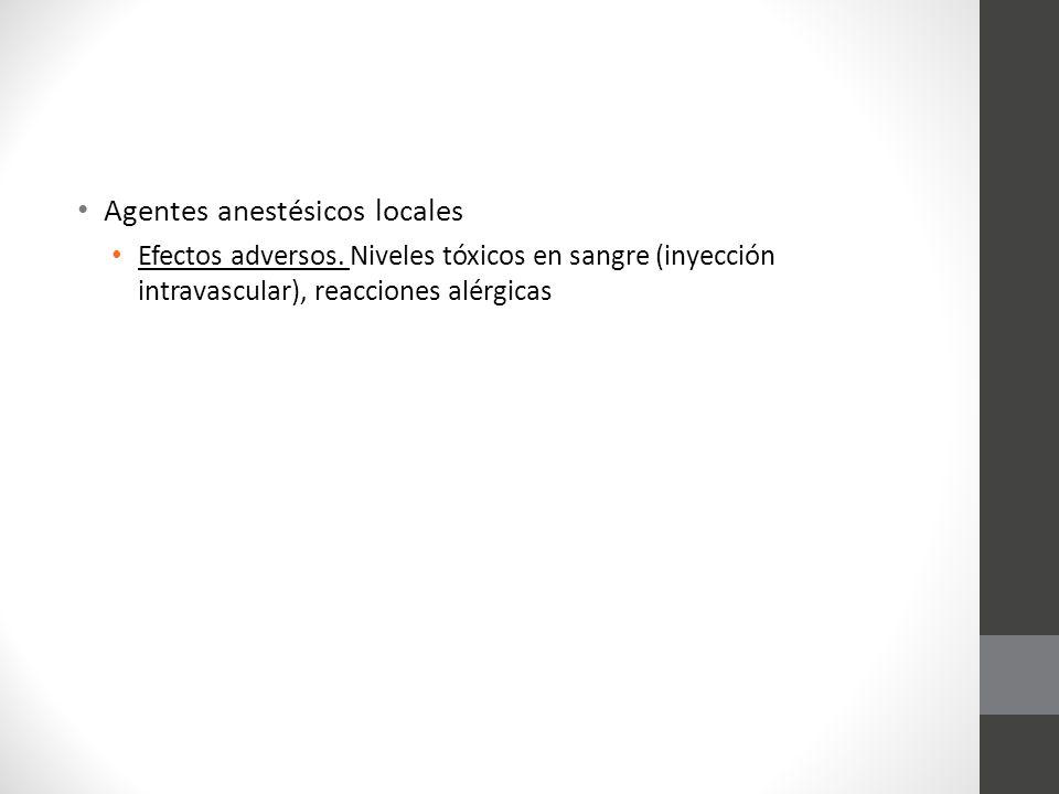 Agentes anestésicos locales Efectos adversos. Niveles tóxicos en sangre (inyección intravascular), reacciones alérgicas