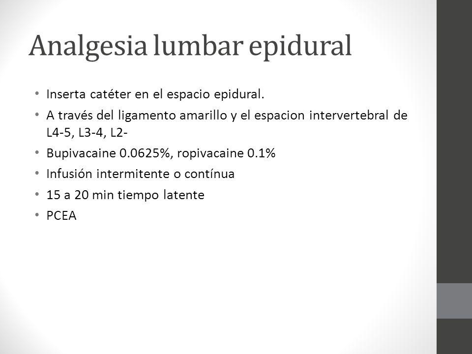 Analgesia lumbar epidural Inserta catéter en el espacio epidural. A través del ligamento amarillo y el espacion intervertebral de L4-5, L3-4, L2- Bupi