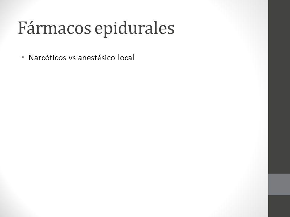 Fármacos epidurales Narcóticos vs anestésico local