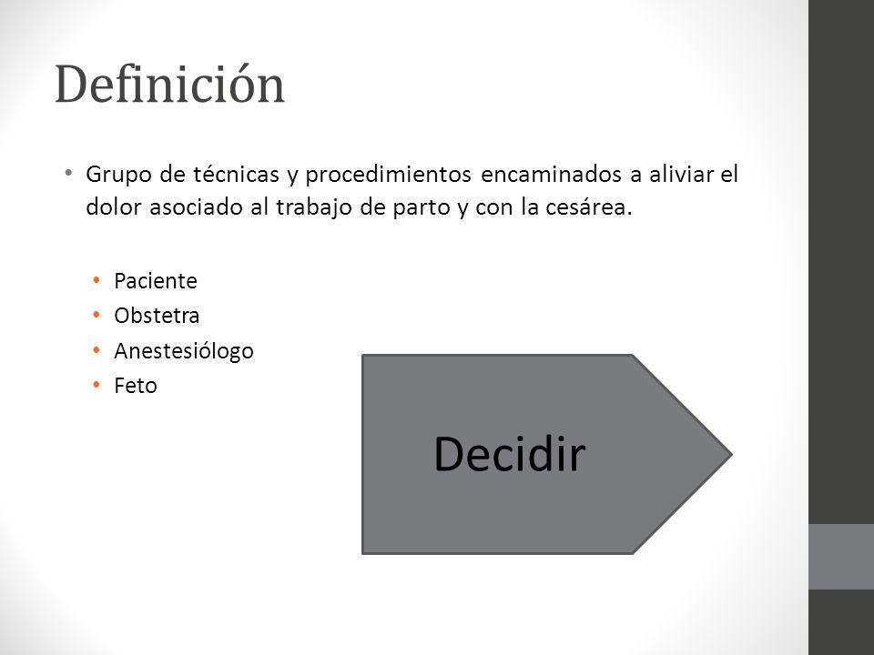 Definición Grupo de técnicas y procedimientos encaminados a aliviar el dolor asociado al trabajo de parto y con la cesárea. Paciente Obstetra Anestesi
