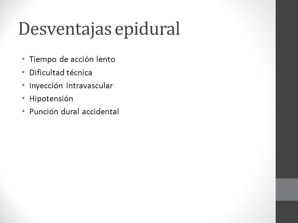 Desventajas epidural Tiempo de acción lento Dificultad técnica Inyección intravascular Hipotensión Punción dural accidental