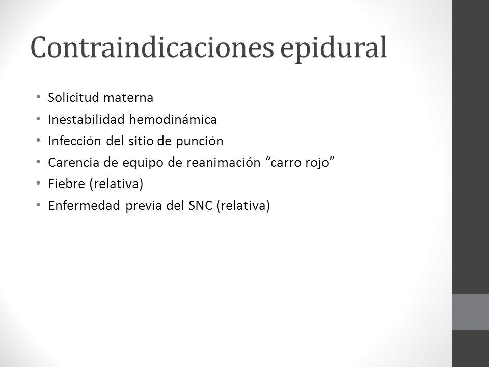 Contraindicaciones epidural Solicitud materna Inestabilidad hemodinámica Infección del sitio de punción Carencia de equipo de reanimación carro rojo F