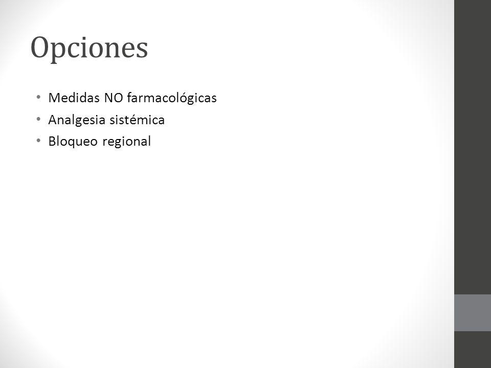 Opciones Medidas NO farmacológicas Analgesia sistémica Bloqueo regional