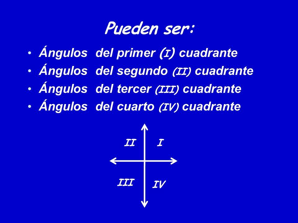 Pueden ser: Ángulos del primer ( I ) cuadrante Ángulos del segundo (II) cuadrante Ángulos del tercer (III) cuadrante Ángulos del cuarto (IV) cuadrante