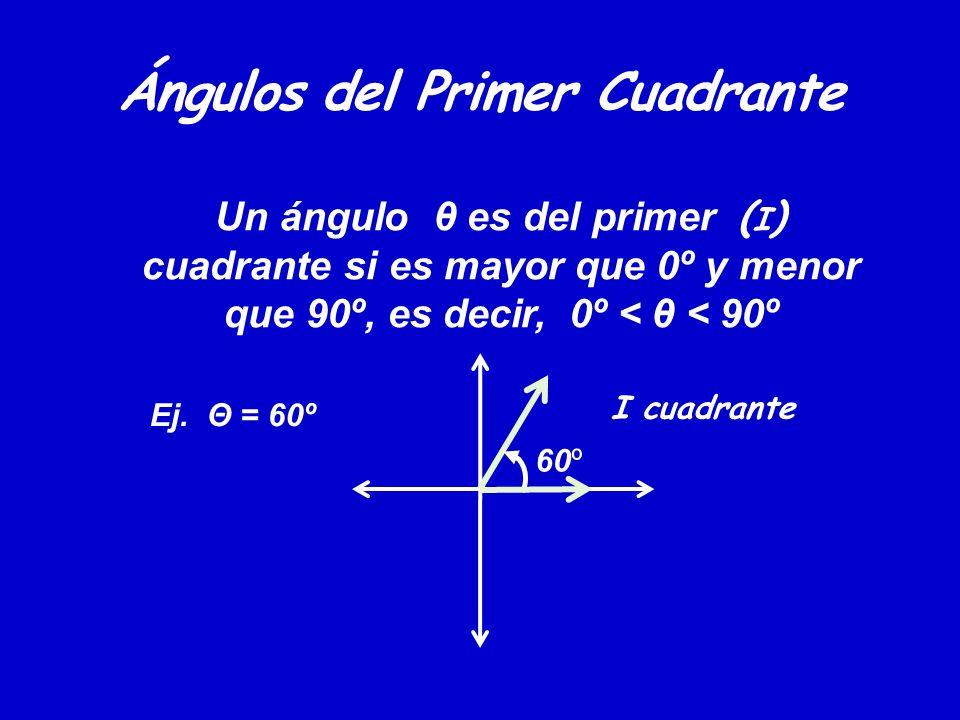Ángulos del Primer Cuadrante Un ángulo θ es del primer ( I ) cuadrante si es mayor que 0º y menor que 90º, es decir, 0º < θ < 90º 60º Ej. Θ = 60º I cu
