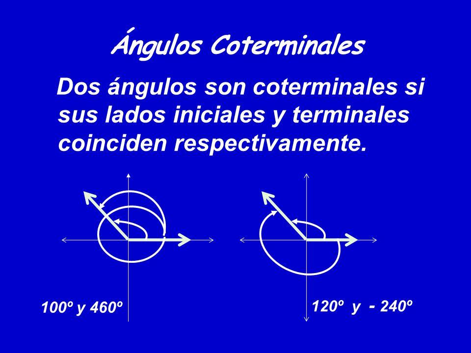 Ángulos Coterminales Dos ángulos son coterminales si sus lados iniciales y terminales coinciden respectivamente. 100º y 460º 120º y - 240º