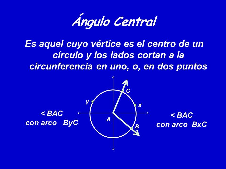 Ángulo Central Es aquel cuyo vértice es el centro de un círculo y los lados cortan a la circunferencia en uno, o, en dos puntos y x A B C < BAC con arco ByC < BAC con arco BxC