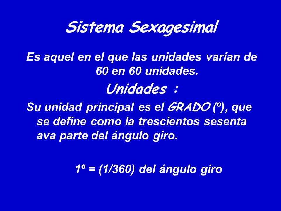 Sistema Sexagesimal Es aquel en el que las unidades varían de 60 en 60 unidades. Unidades : Su unidad principal es el GRADO (º), que se define como la