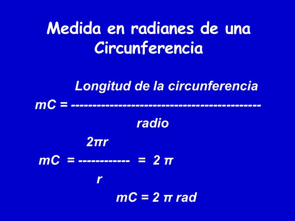 Medida en radianes de una Circunferencia Longitud de la circunferencia mC = -------------------------------------------- radio 2πr mC = ------------ =