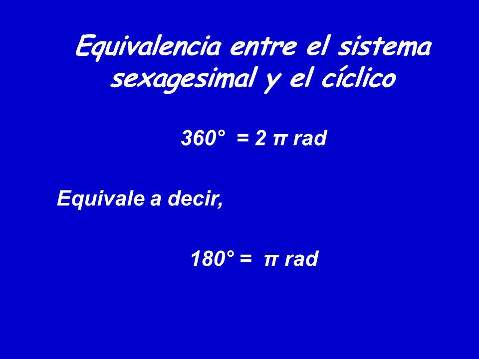 Equivalencia entre el sistema sexagesimal y el cíclico 360° = 2 π rad Equivale a decir, 180° = π rad