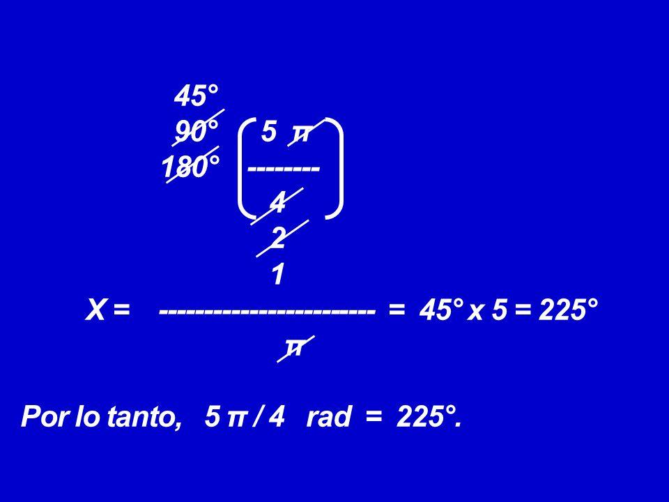 45° 90° 5 π 180° -------- 4 2 1 X = ------------------------ = 45° x 5 = 225° π Por lo tanto, 5 π / 4 rad = 225°.