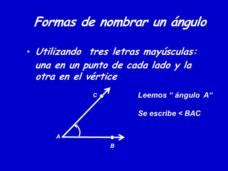 Formas de nombrar un ángulo Utilizando tres letras mayúsculas: una en un punto de cada lado y la otra en el vértice B C A Leemos ángulo A Se escribe <