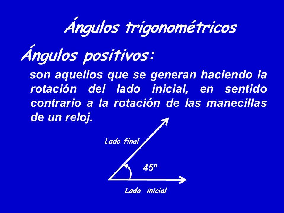 Ángulos trigonométricos Ángulos positivos: son aquellos que se generan haciendo la rotación del lado inicial, en sentido contrario a la rotación de la
