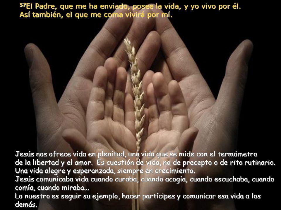 56 El que come mi carne y bebe mi sangre vive en mí y yo en él. 57 El Padre, que me ha enviado, posee la vida, y yo vivo por él. Así también, el que m