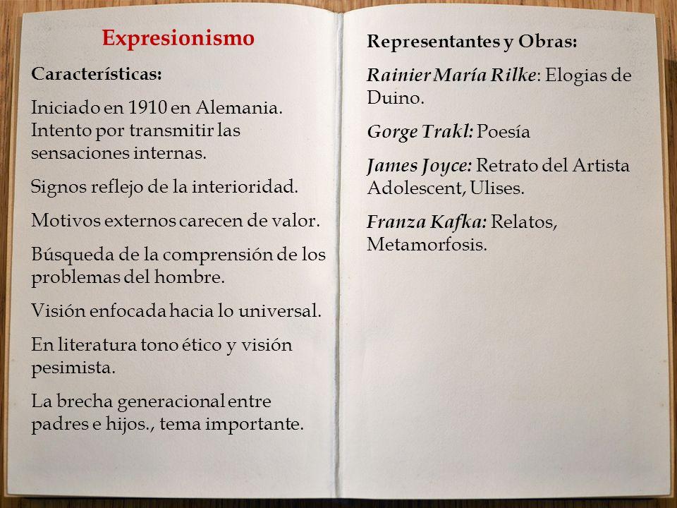 Expresionismo Características: Iniciado en 1910 en Alemania.