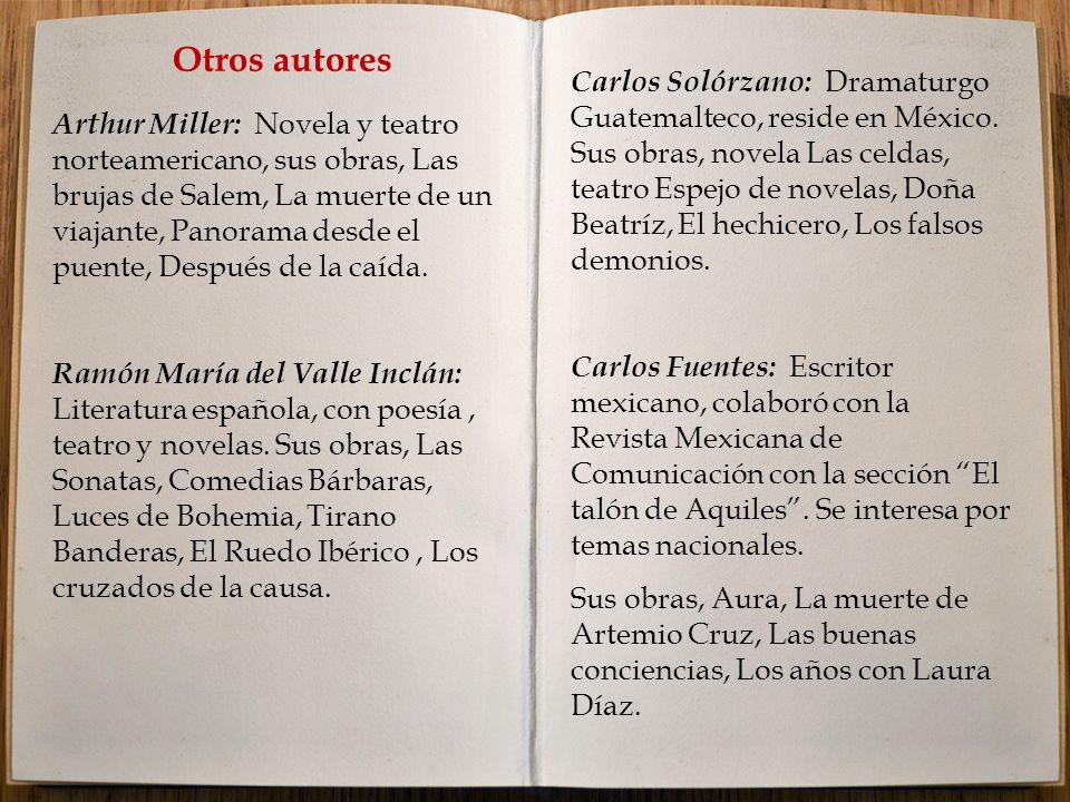 Otros autores Arthur Miller: Novela y teatro norteamericano, sus obras, Las brujas de Salem, La muerte de un viajante, Panorama desde el puente, Después de la caída.